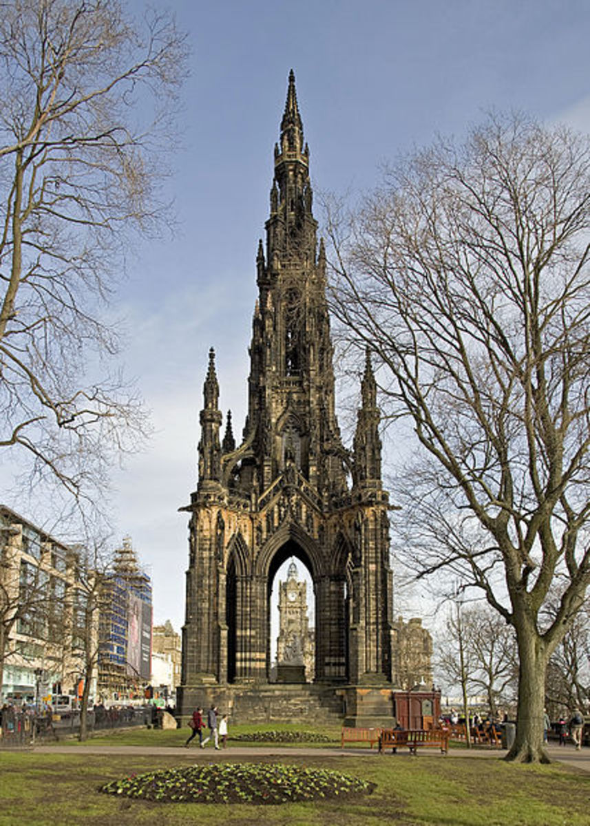 Scott Monument, Edinburgh (ref. Sir Walter Scott) has a series of viewing platforms, reached by a succession of narrow spiral staircases with views over Edinburgh & beyond.