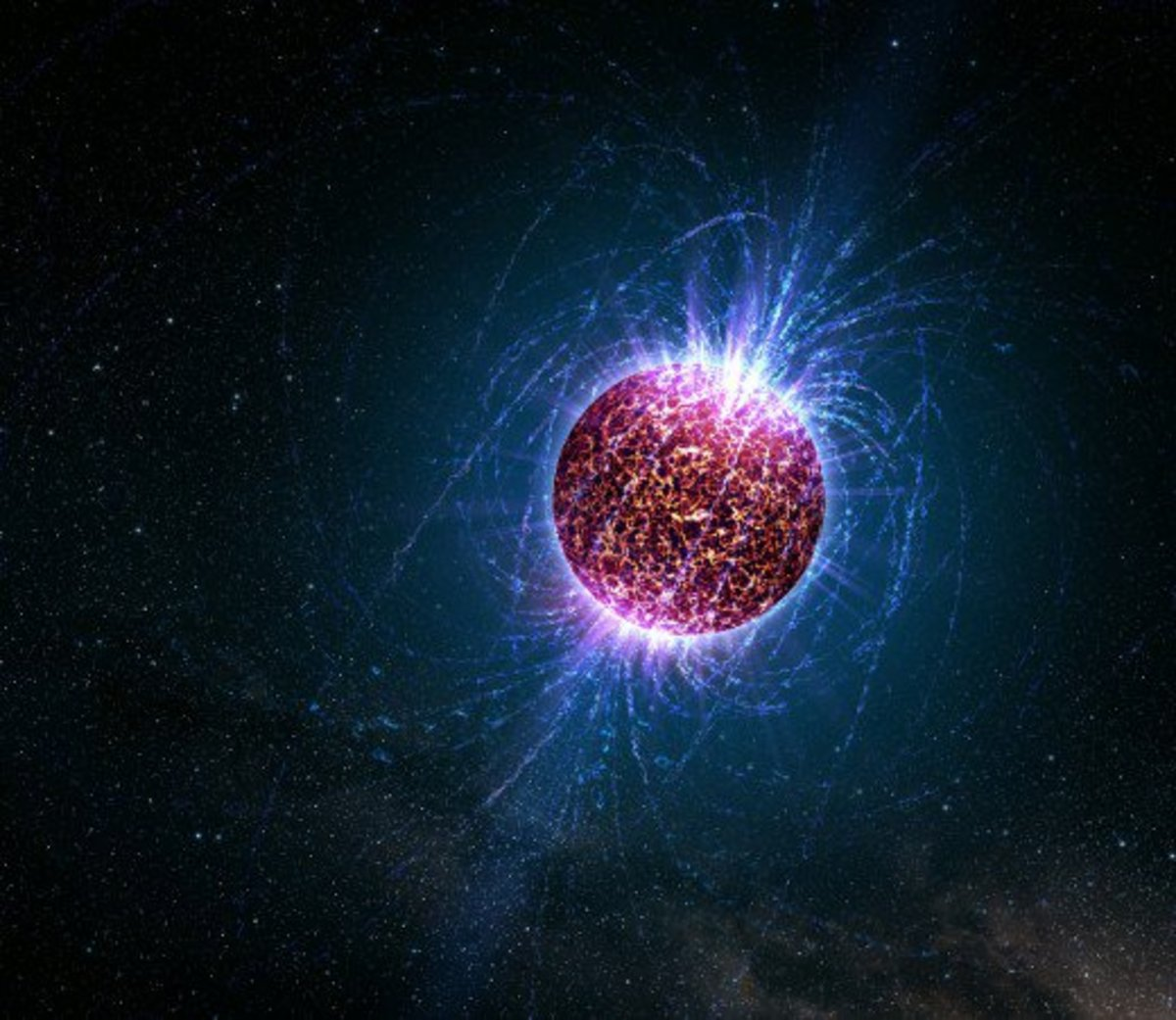 A neutron star's magnetic field lines visualized.