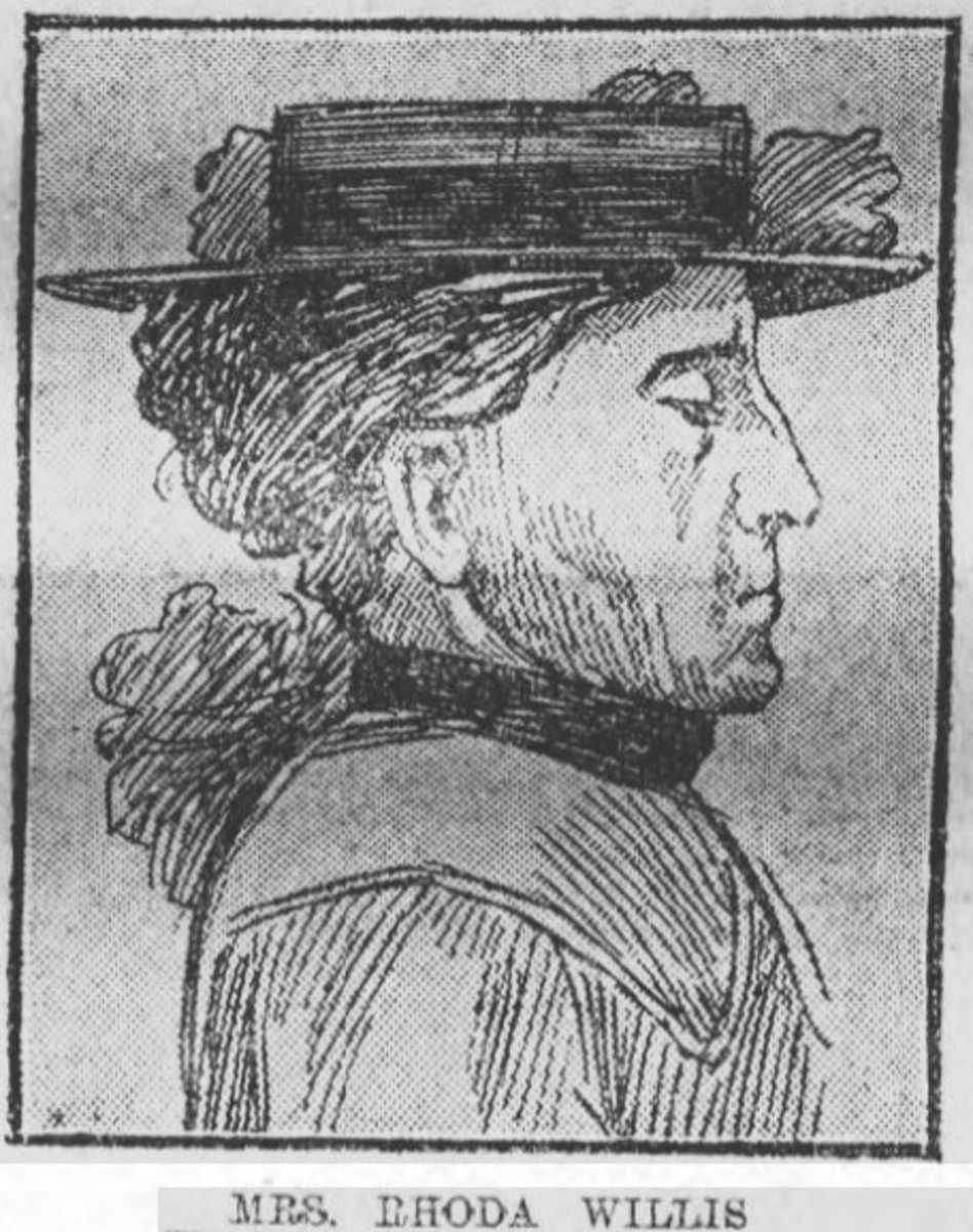 A sketch of Rhoda Willis probably done at her trial.