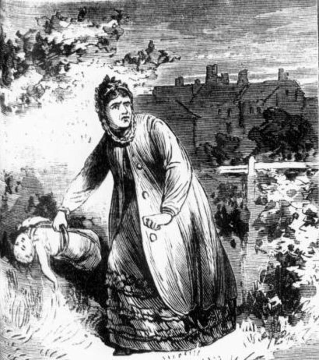 Margaret Waters is depicted by the Illustrated Police News disposing of a child's body.