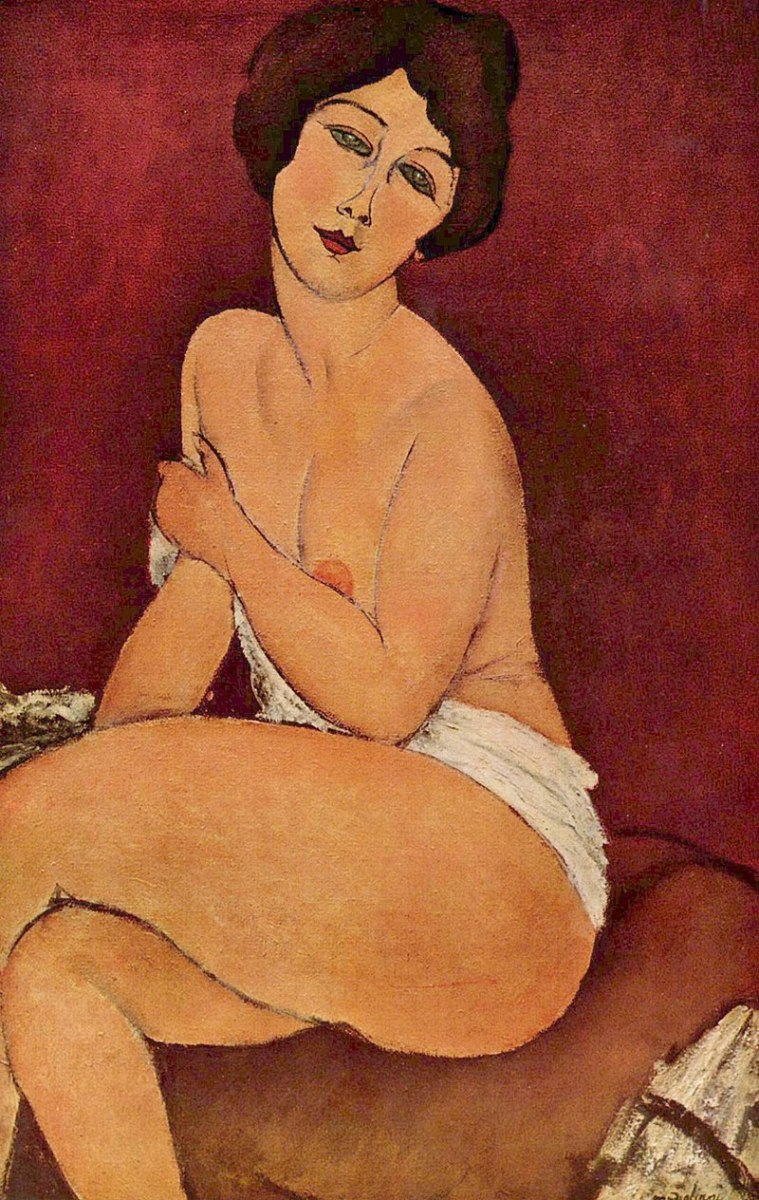 Nude Sitting on a Divan by Amedeo Modigliani