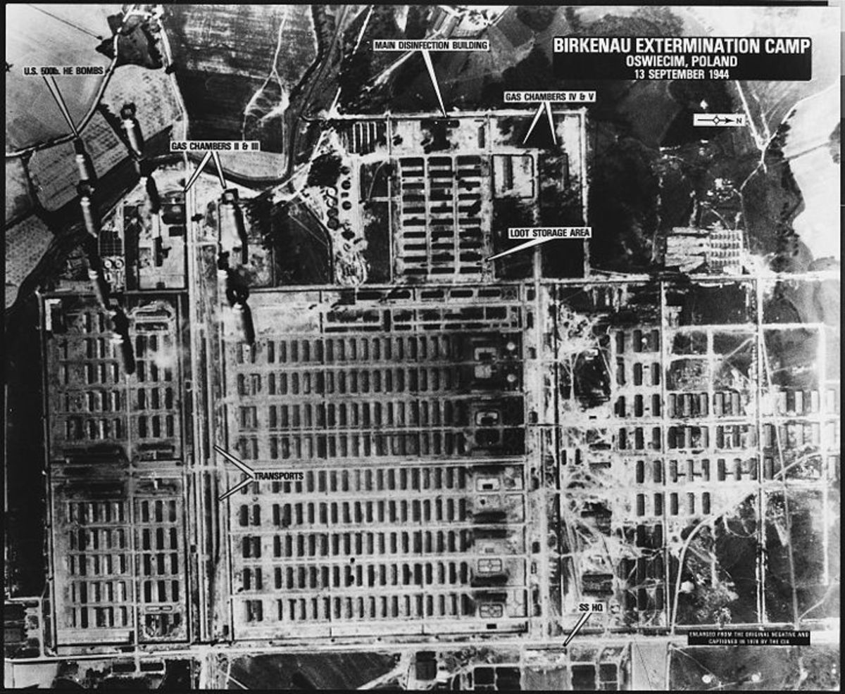 The scale of the Auschwitz-Birkenau complex is seen in this aerial photo taken during a bombing run in September 1944. The target is the I.G. Farben factory (top right) where the poison gas was made.