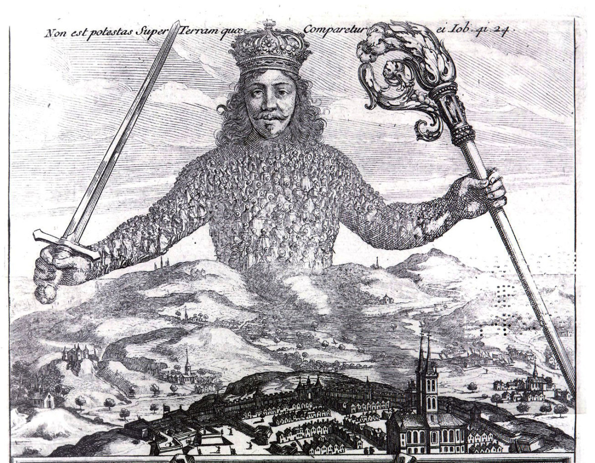 Detail from the frontispiece for Leviathan (1651) by Thomas Hobbes, etching by Abraham Bosse.  As reproduced in Body of Art.