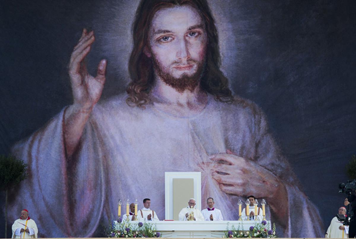 Pope Francis celebrates Mass at the Shrine of Divine Mercy, Lagiewniki, Poland.