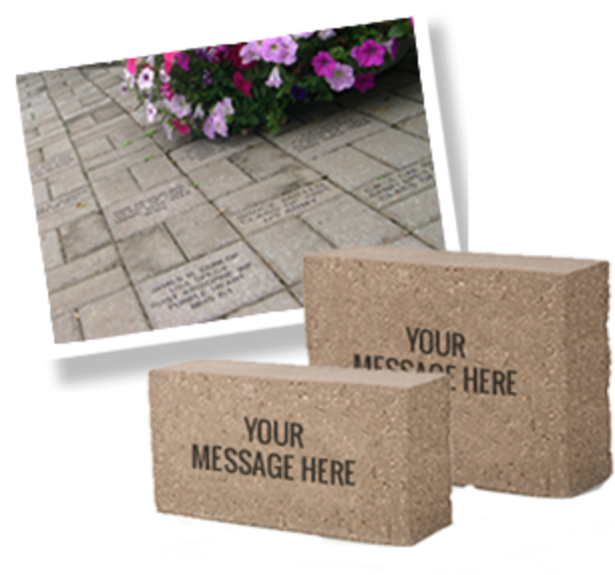 Engraved personalized brick graphic used to promote project