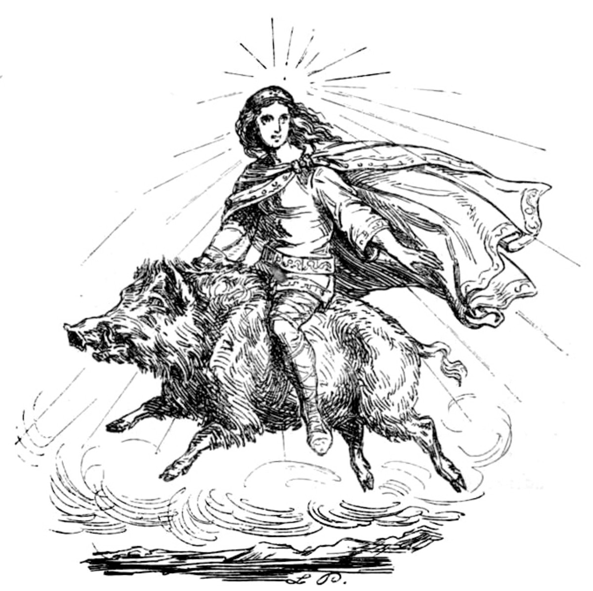Freyja riding her boar - 1863