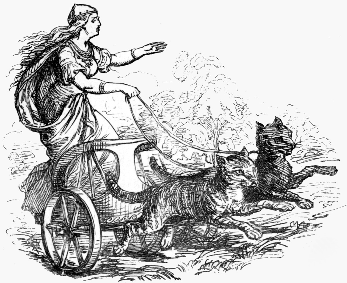 The goddess Freyja, riding in her cat-pulled wagon, 1865.