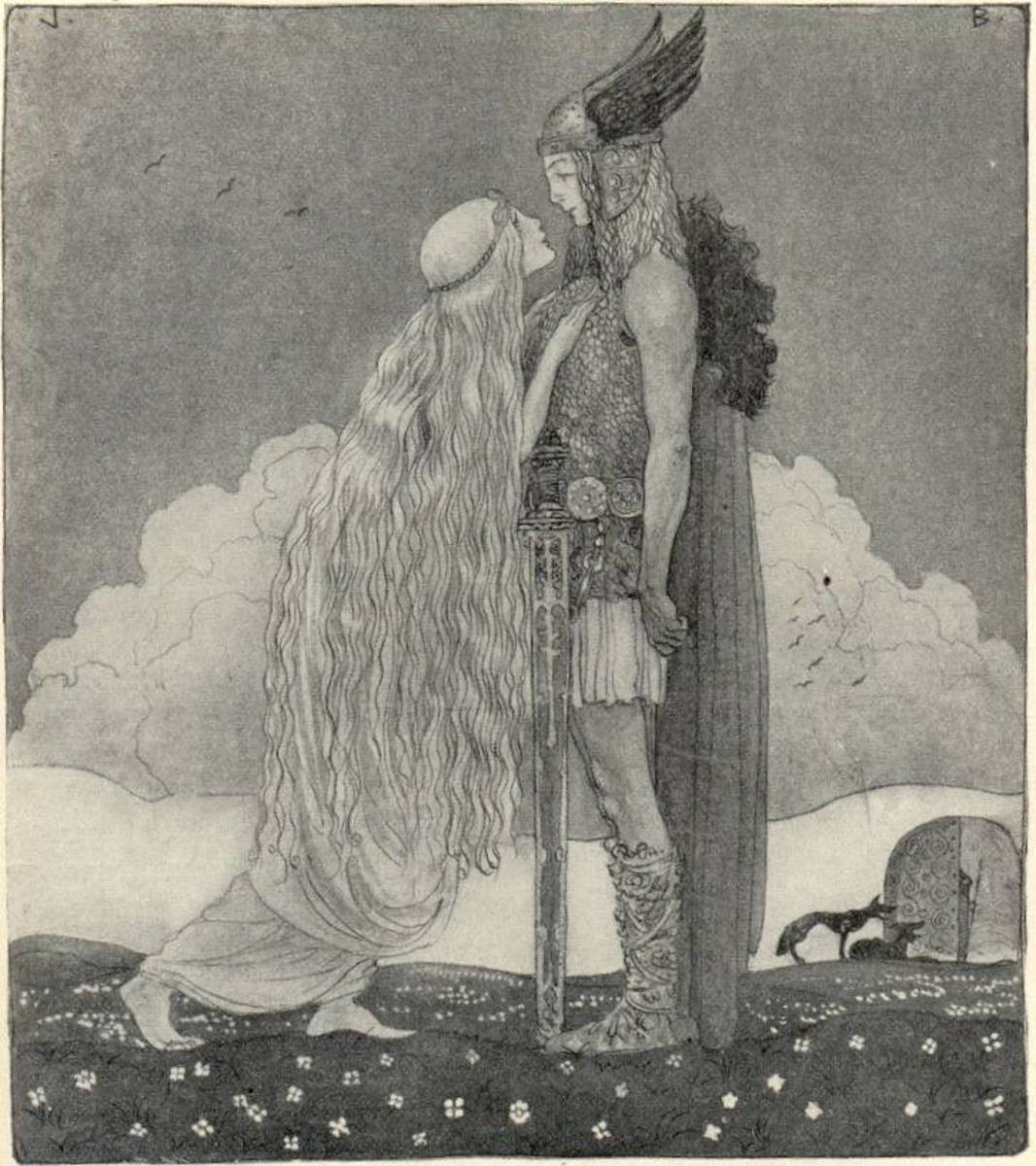 Freyja and Svipdag for Our Fathers' Godsaga by Viktor Rydberg 1911