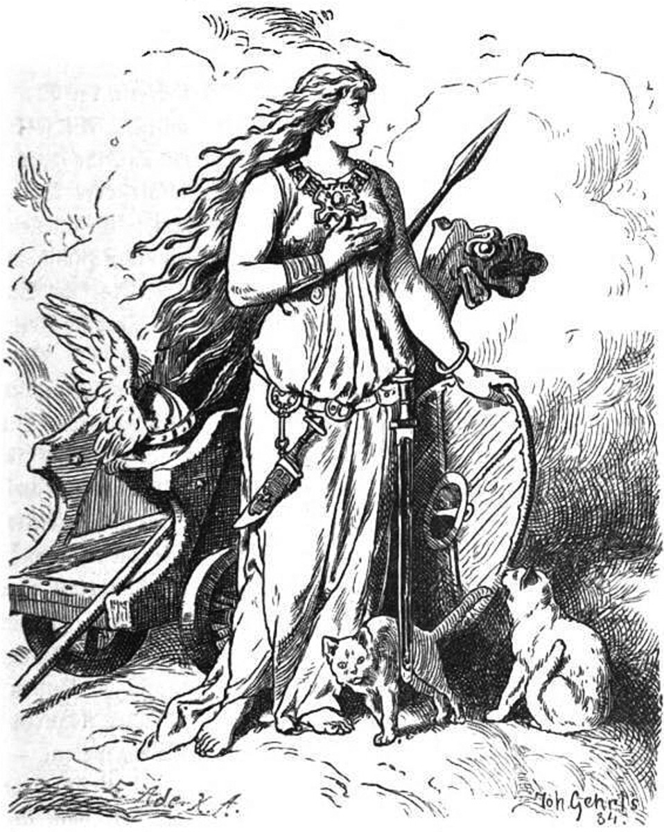 The goddess Freya rests her hand upon a shield, 1901