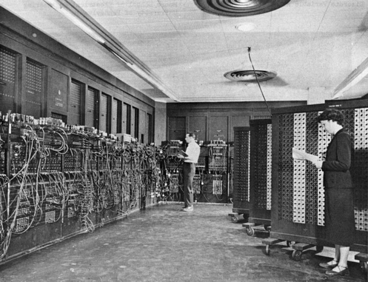 Computers were once huge machines that took up a large room and had to be programmed by plugging in wires. A smartphone is hundreds of times more powerful than this computer called ENIAC,  built in the 1940s.