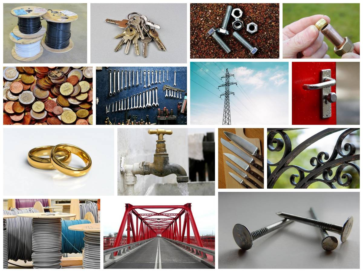 Things made from metal. Plastic has replaced some metals, but often we still need to use metals because they are stronger in some applications.