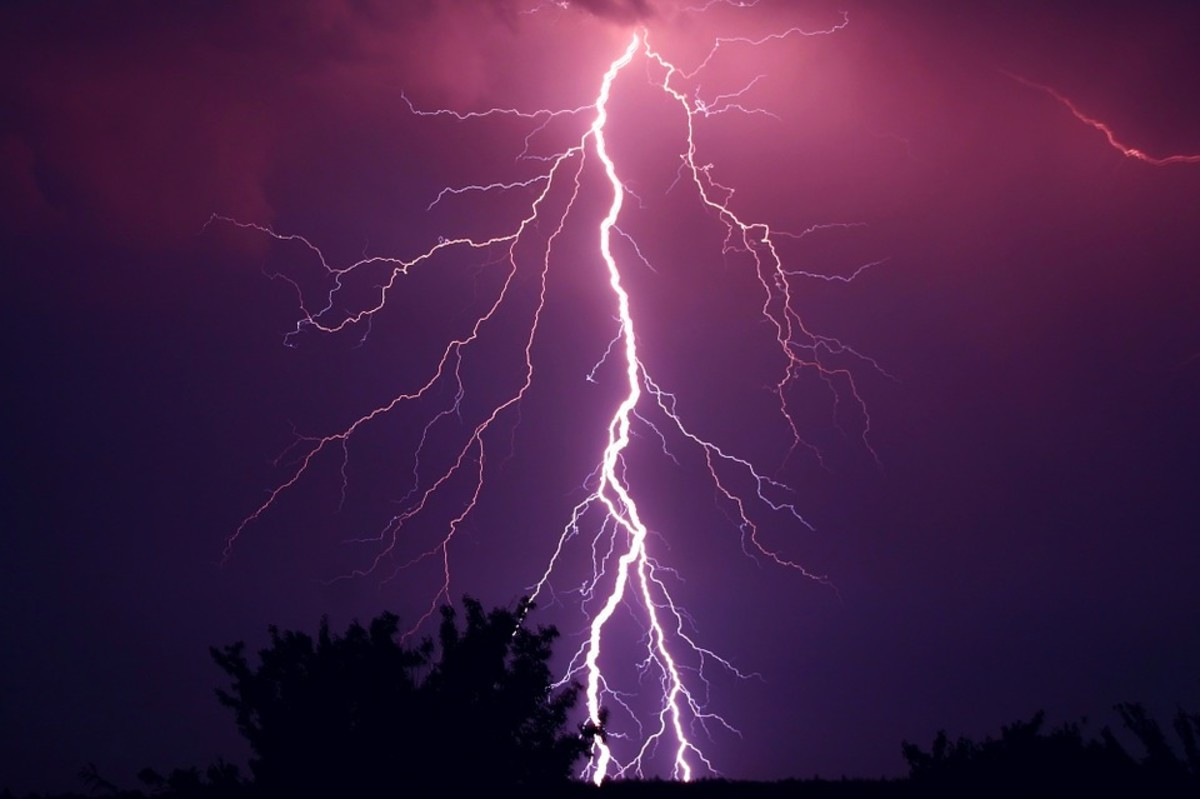 During a thunderstorm, clouds get charged up. When the charge and voltage becomes too great, a spark jumps from cloud to ground. We call this lightning.