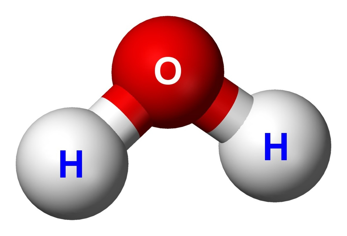 A water molecule is made of two atoms of hydrogen and one atom of oxygen. H is the symbol for the element hydrogen and O stands for oxygen. So the chemical name for water is H2O.