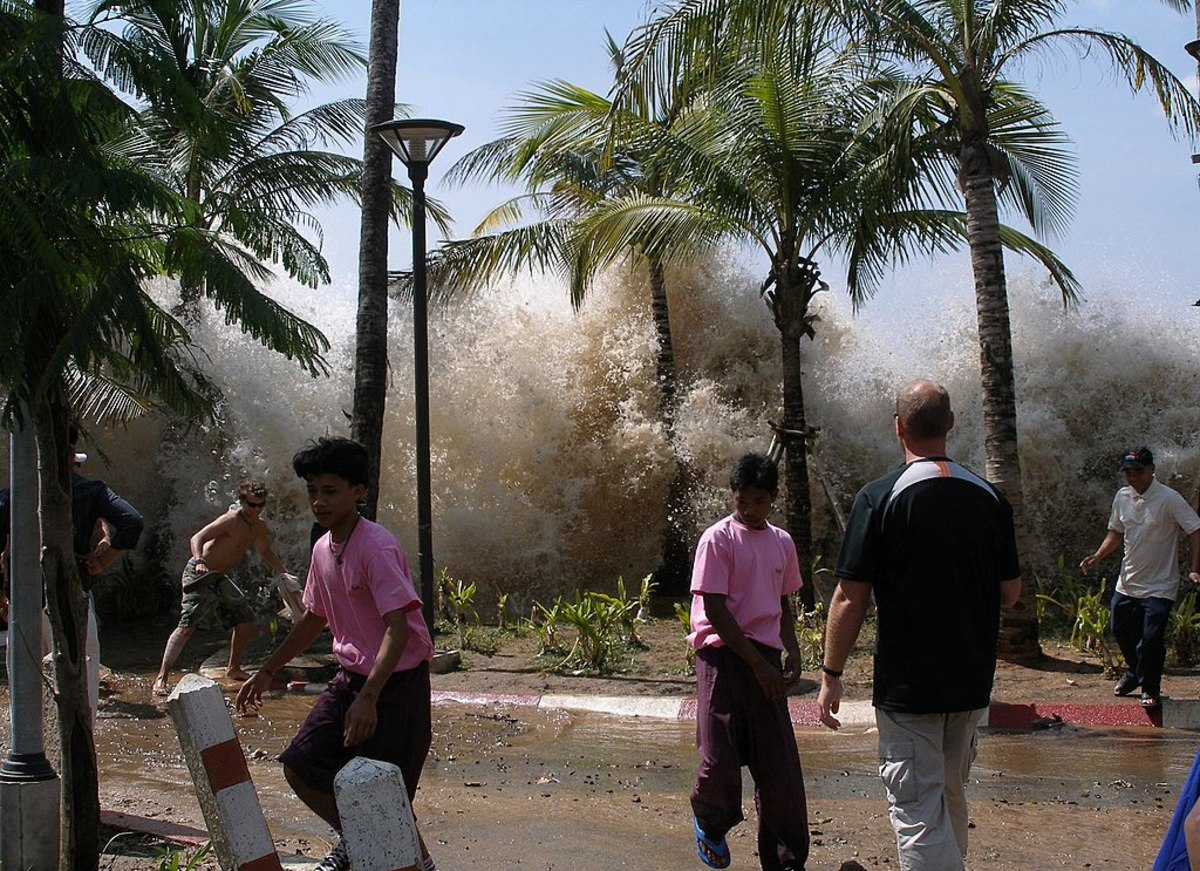 This shot captures the very destructive 2004 tsunami as it comes ashore in Thailand. A megatsunami would likely have a higher wall of water.