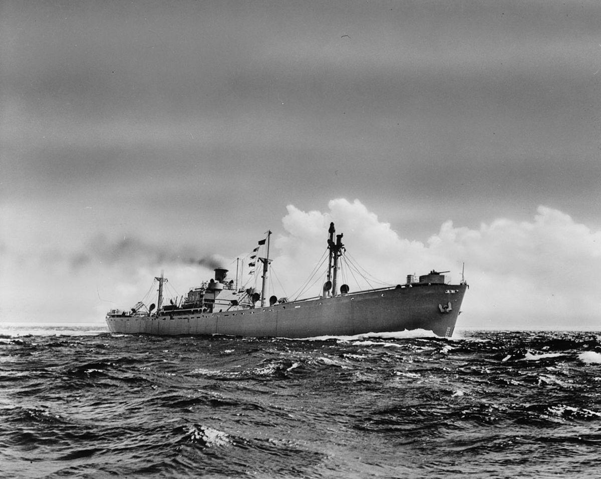 A Liberty ship at sea.