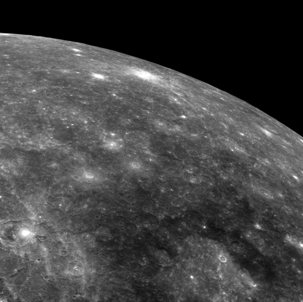 Up-close view of Mercury's surface. Notice how the planet is dotted with meteor and asteroid craters.