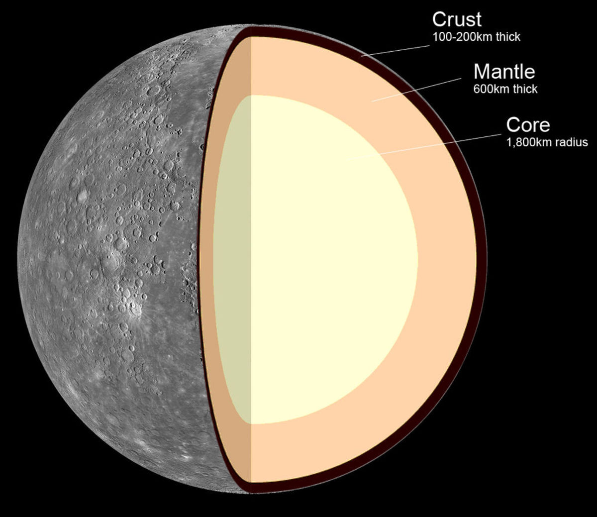 Internal structure of the planet Mercury. Notice its exceptionally large core that dominates much of its overall structure.