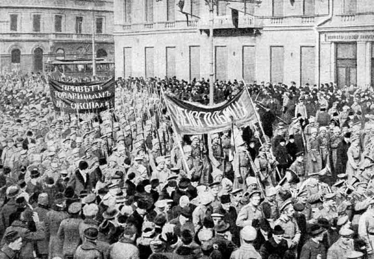 Mass-gathering of Bolsheviks.