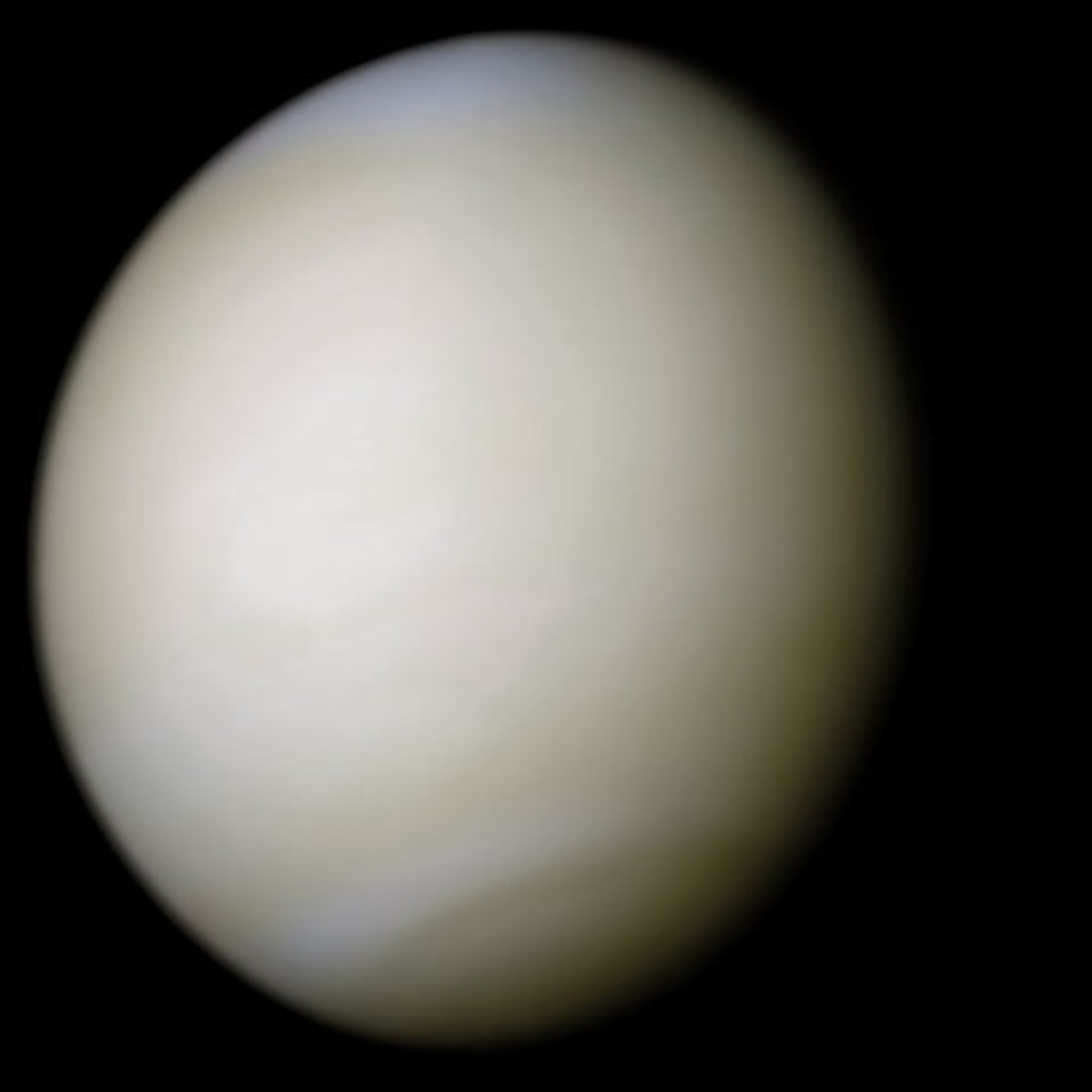 Image captured by spacecraft of Venus and its natural color.