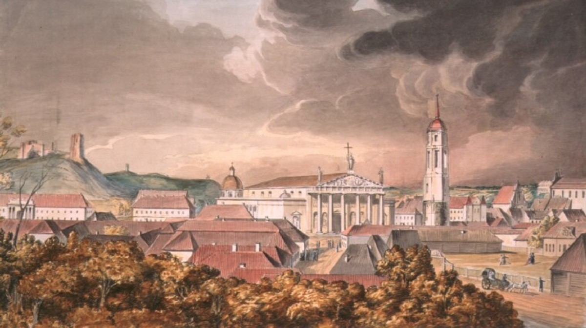 This 1800 painting by J. Peska shows a city skyline dominated by an old castle and cathedral