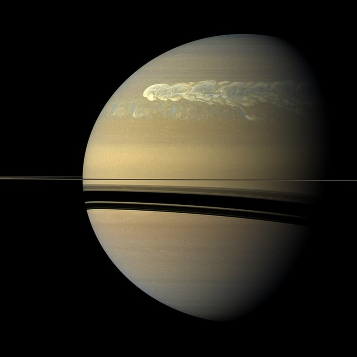 Close-up of Saturn's surface.
