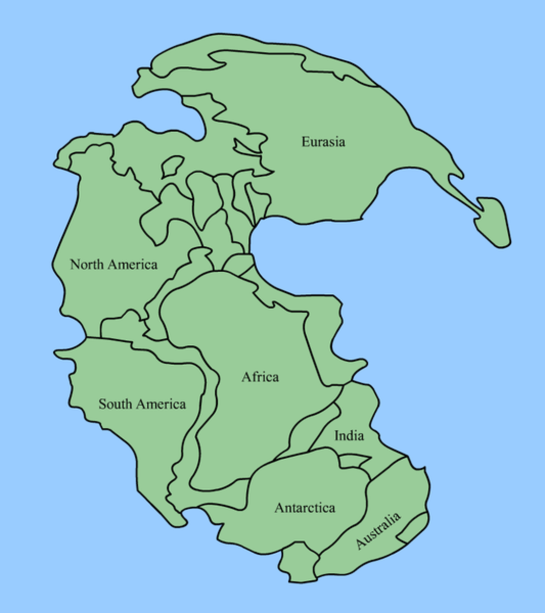 """The earth's continents as they were positioned in the original land mass known as """"Pangea"""""""