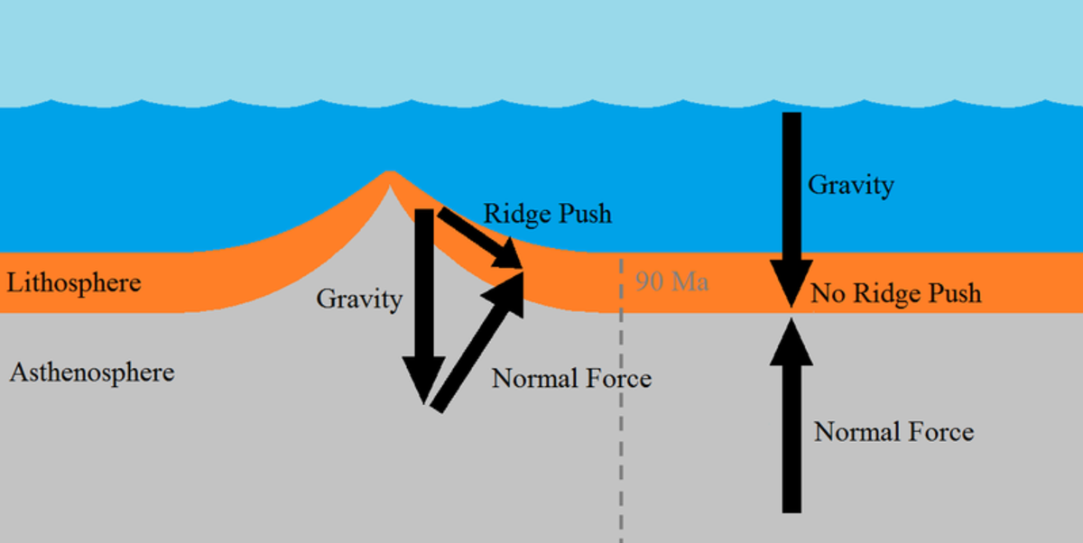 A diagram showing the action of tectonic forces in the creation of a mid-ocean ridge