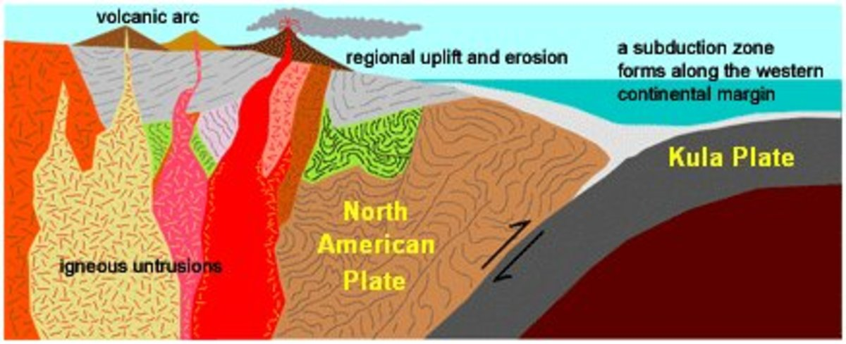 Illustration showing the operation of tectonic forces at the boundary between the Kula and North American Plates
