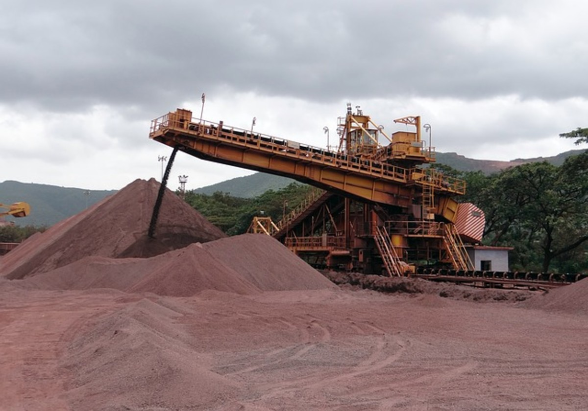 An operative iron ore mine. Ore minerals of every kind are extracted from the earth in vast quantities and used in manufacture and industry