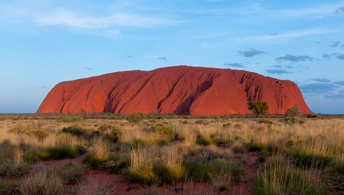 Ayer's Rock in Australia is made of sandstone which is a sedimentary rock