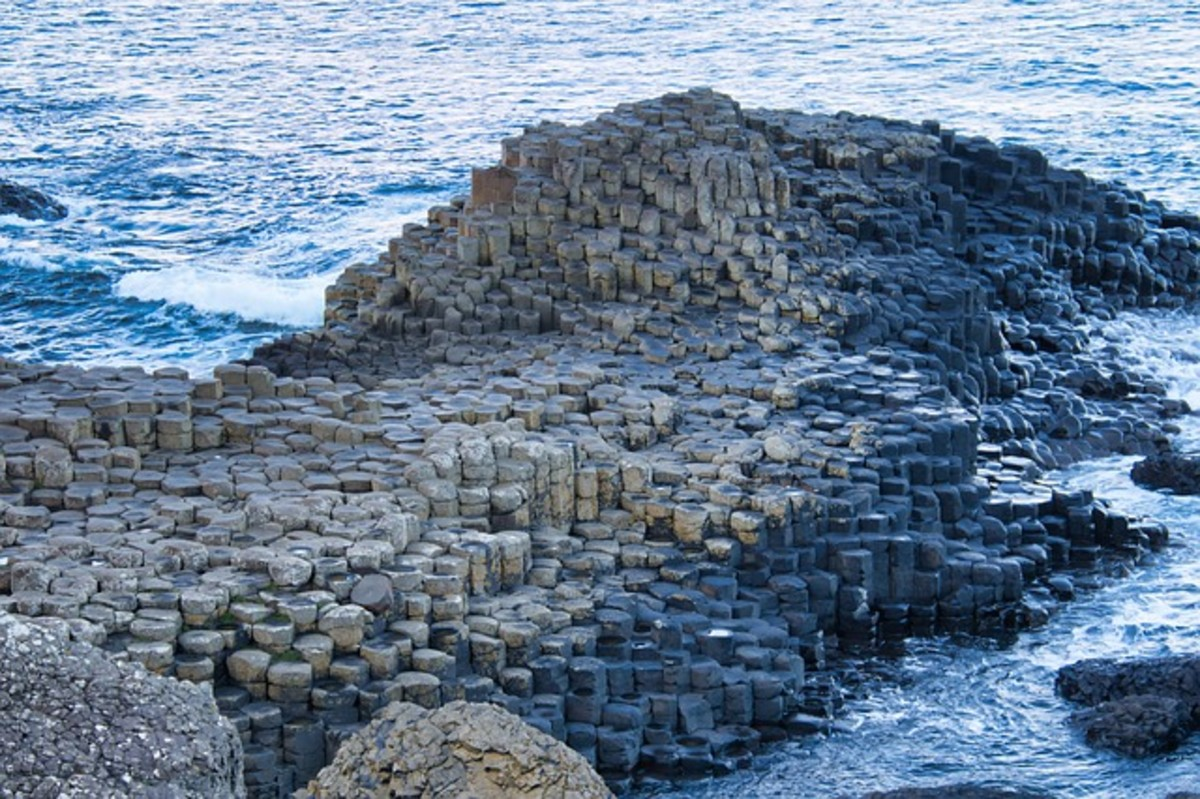 The Giant's Causeway in Northern Ireland is formed from basalt, an extrusive igneous rock