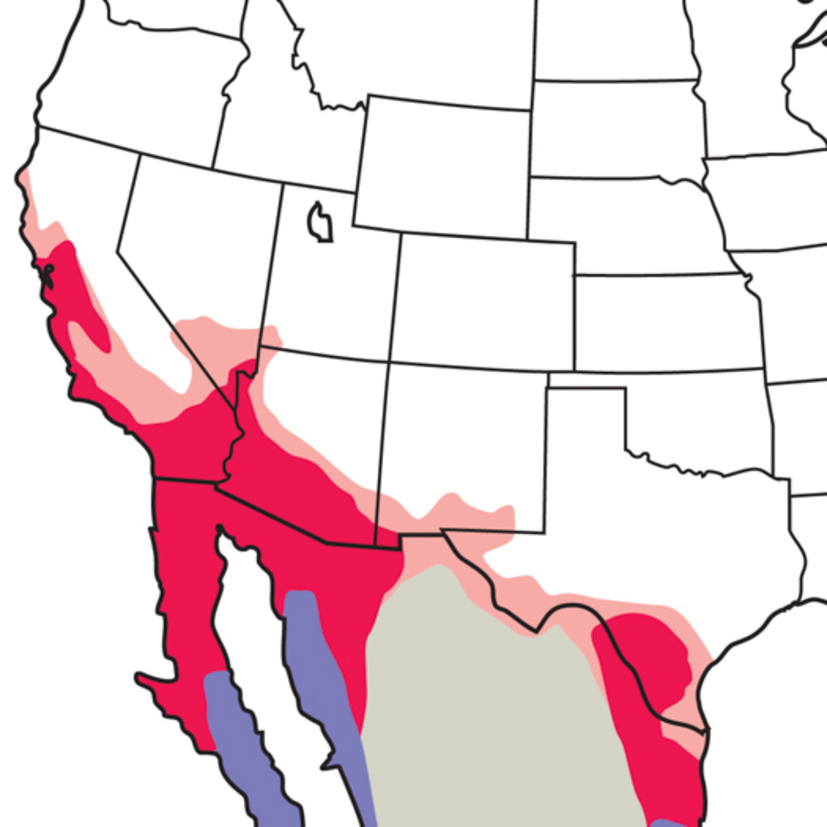 Map showing the range of the hooded oriole.