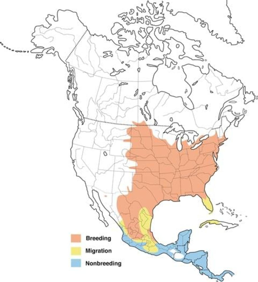 Map shows the range of the orchard oriole.