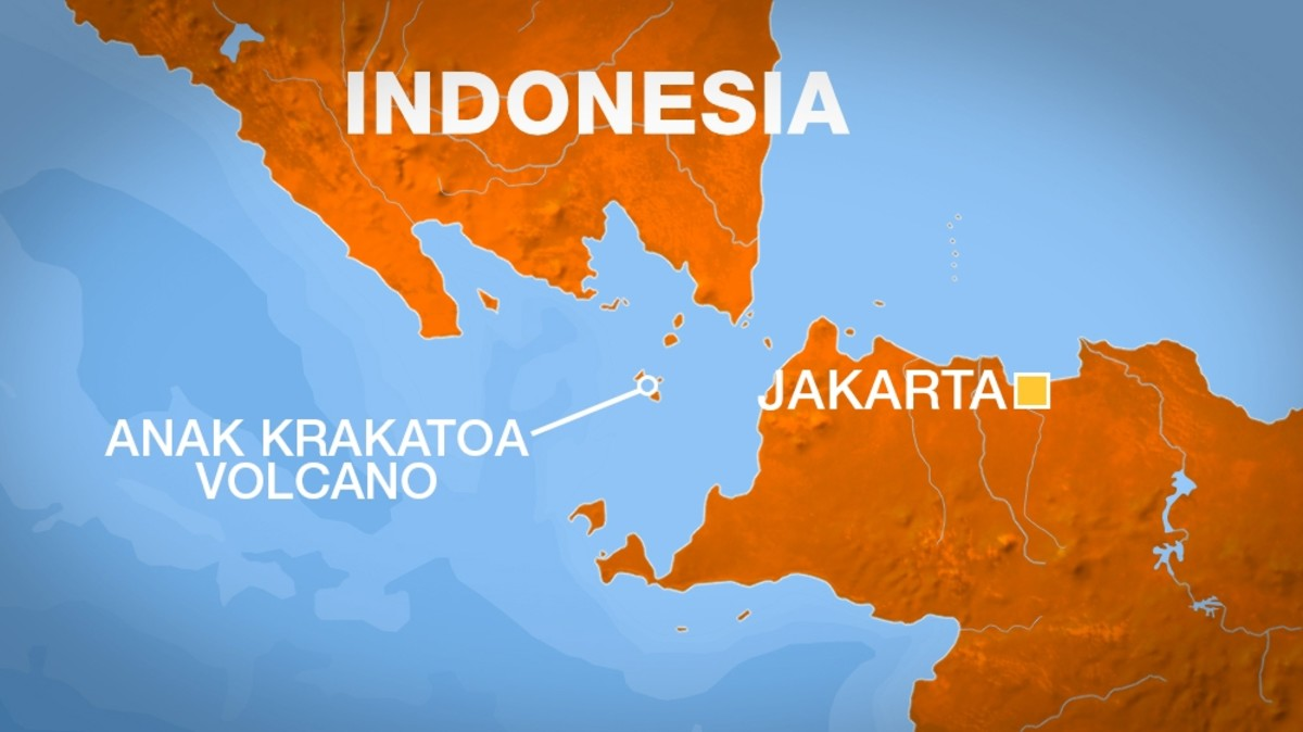 Krakatoa is actually a chain of islands, situated between Java and Sumatra in the Sunda Strait