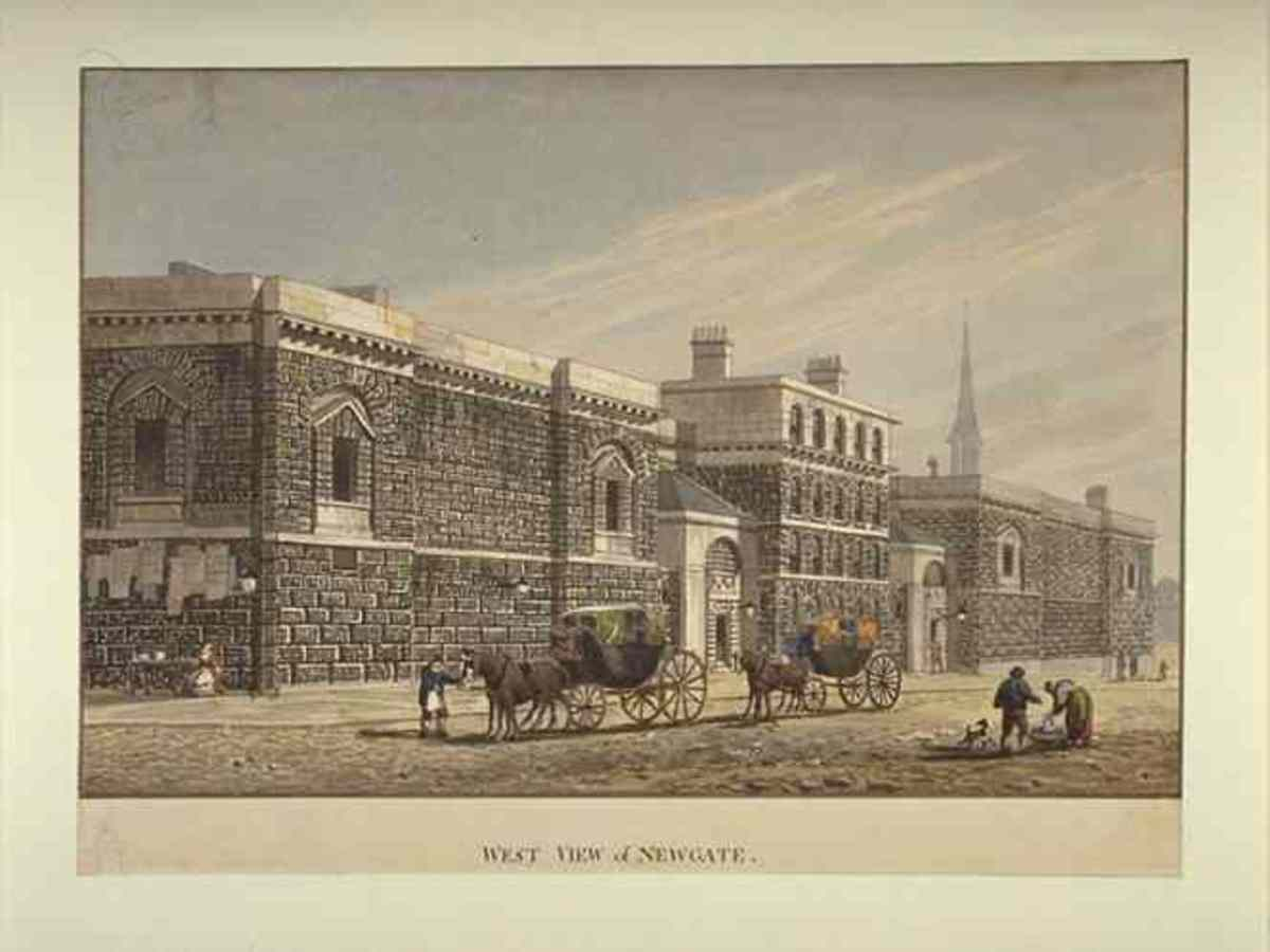 Newgate Prison (above) was demolished and the current Old Bailey was built on its site.