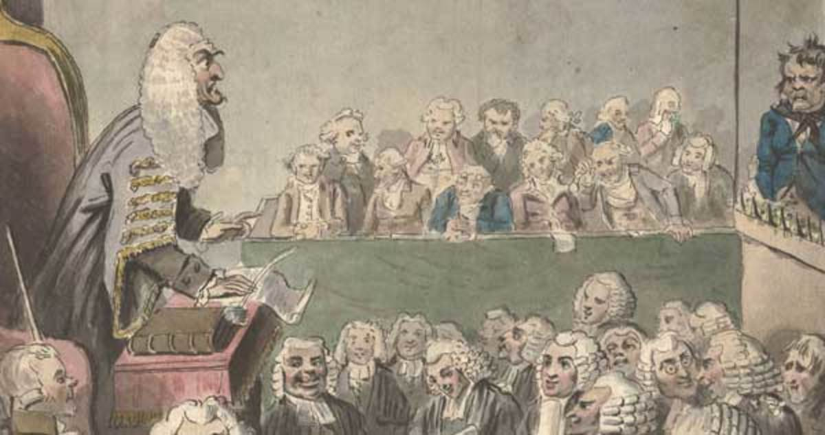 A stern looking judge conducts a trial in the Old Bailey.