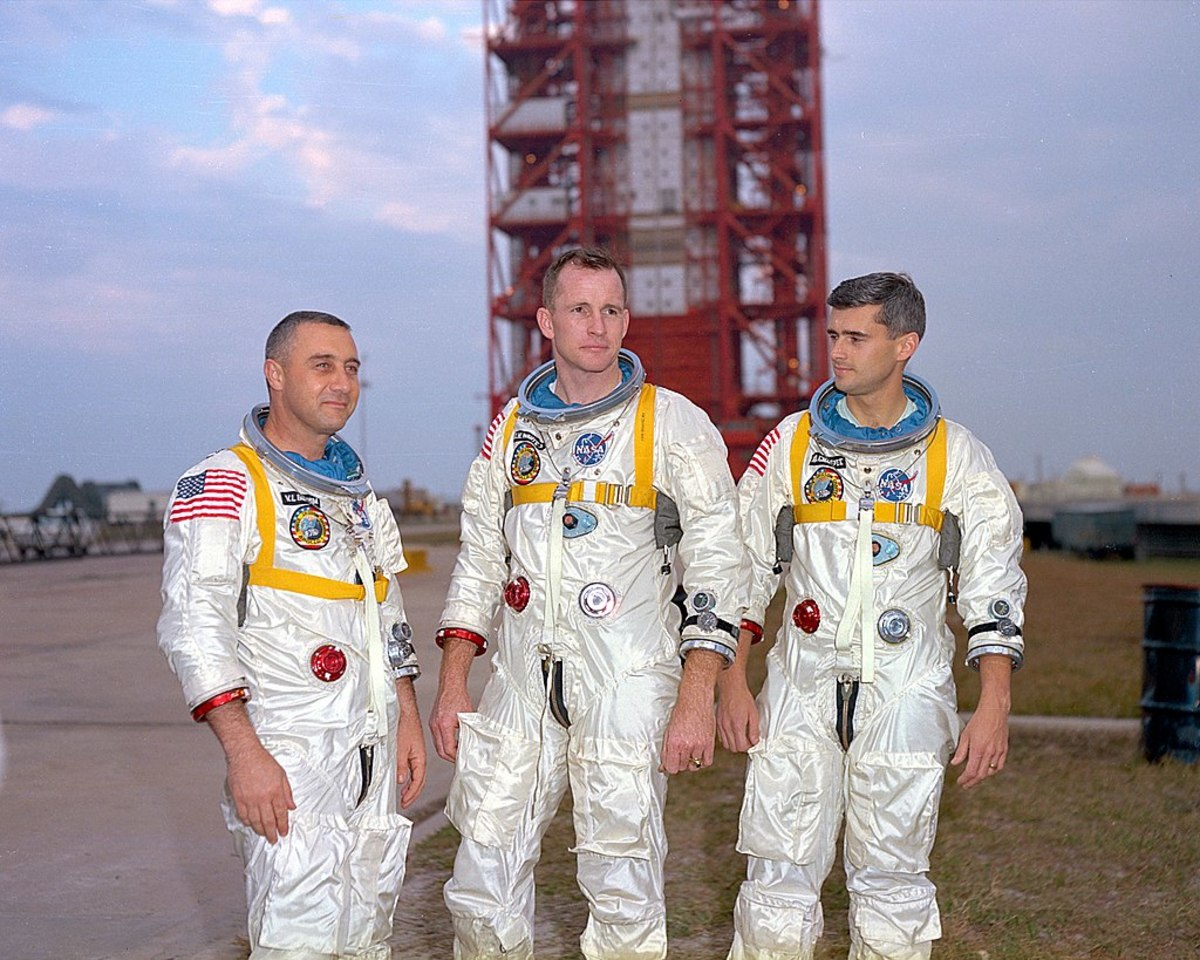 Grissom, White, and Chaffee in front of the launch pad containing the Apollo 1 spacecraft.