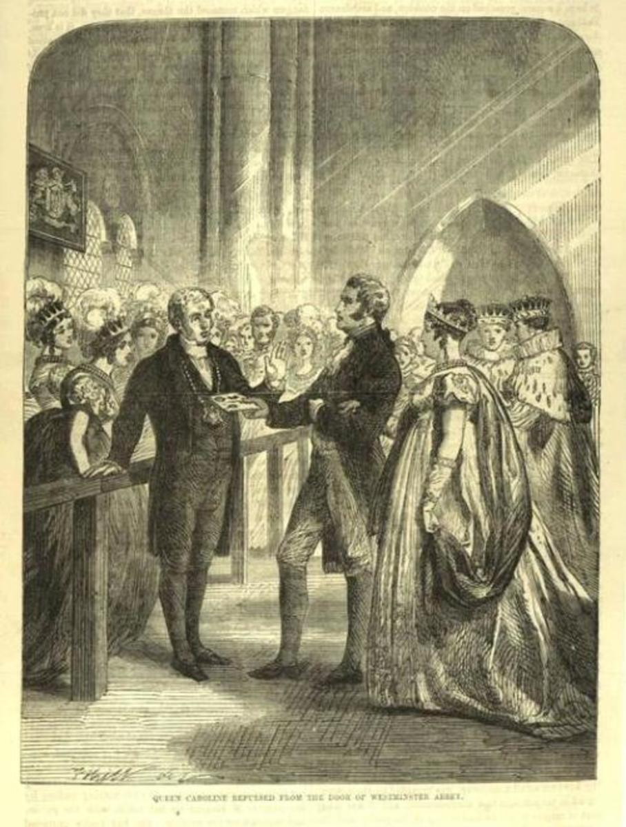 Queen Caroline attempts to enter Westminster Abbey for King George IV coronation but is refused entry