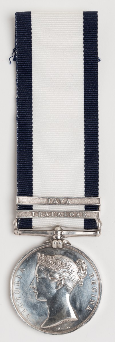 Naval General Service Medal 1847 - Medal awarded to Corporal Henry Castle, Royal Marines, with clasps 'Trafalgar' (HMS Britannia) and 'Java' (HMS Hussar)