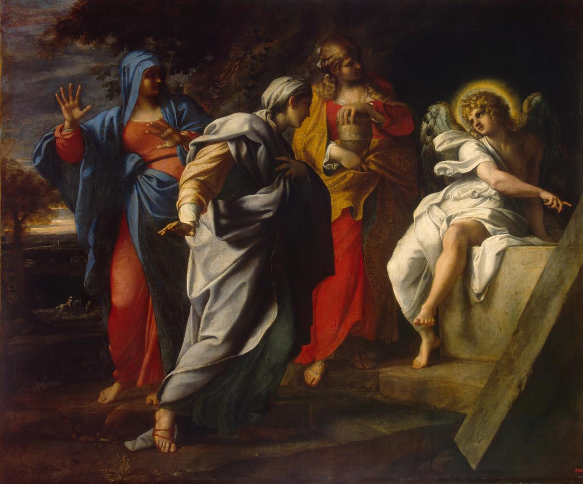 """Holy Women at Christ's Tomb (c. 1590s) by Annibale Carracci. In Matthew 28:1–10, Mary Magdalene and """"the other Mary"""" encounter an angel at the tomb, who tells them that Christ has risen."""