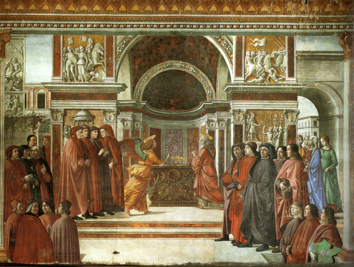 Annunciation of the Angel to Zechariah by Domenico Ghirlandaio (1490, fresco in the Tornabuoni Chapel, Florence)