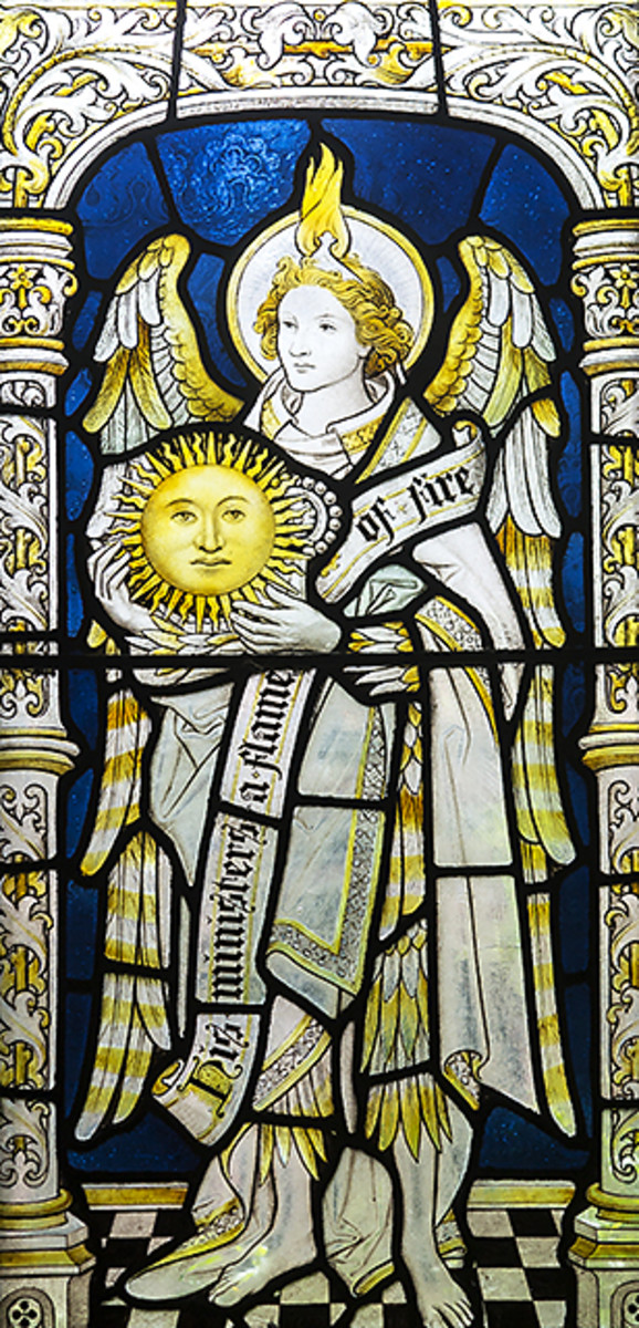 Stained glass of archangel Uriel as regent of the sun in the cloisters of Chester Cathedral.