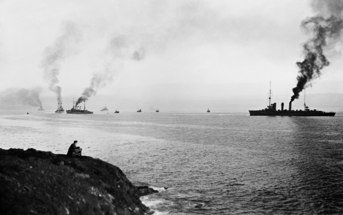 German ships enter Scapa Flow at the surrender of the Imperial German Navy