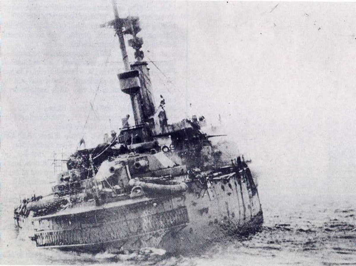 HMS Britannia listing to port after having been struck by UB-50's torpedo