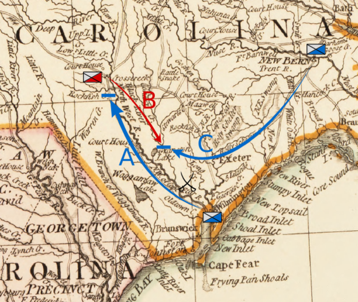 Map depicting preliminary movements: A: Moore moves from Wilmington to Rockfish Creek B: MacDonald moves to Corbett's Ferry C: Caswell moves from New Bern to Corbett's Ferry.