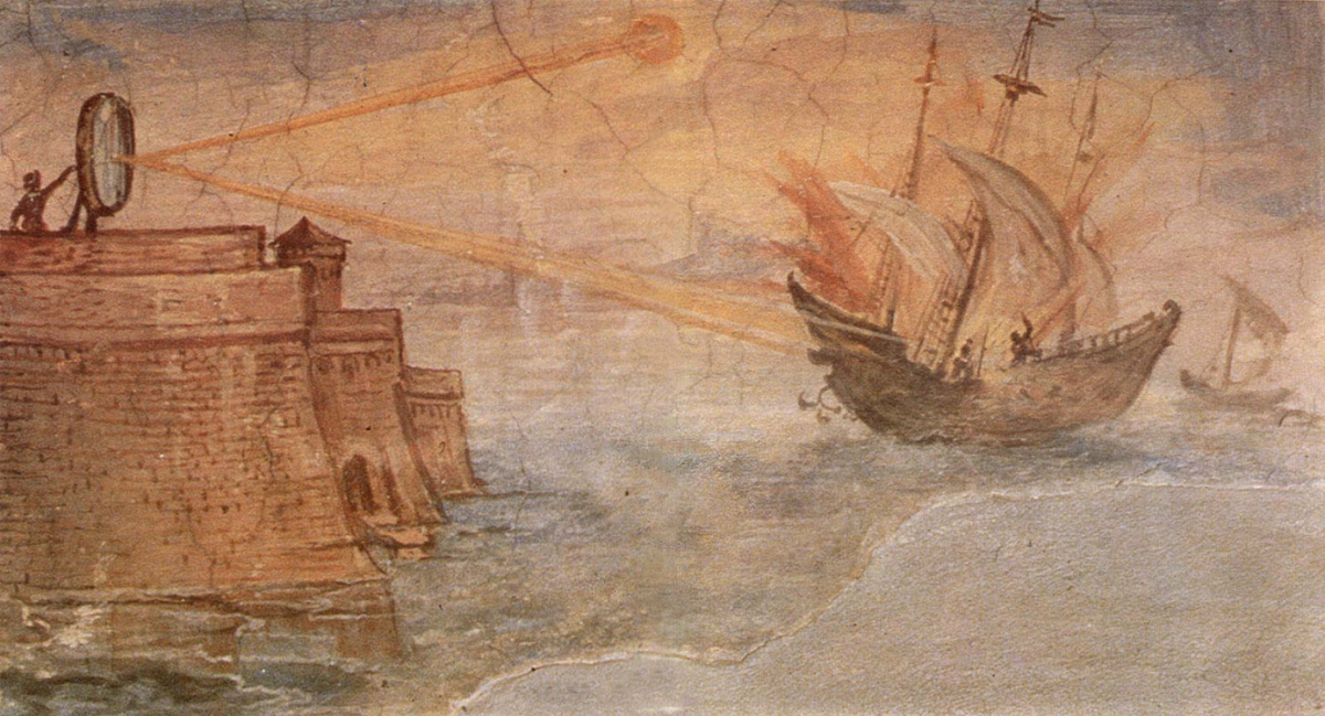 Artist's impression of Archimedes' mirror used to burn Roman ships. From a painting by Giulio Parigi, c. 1599