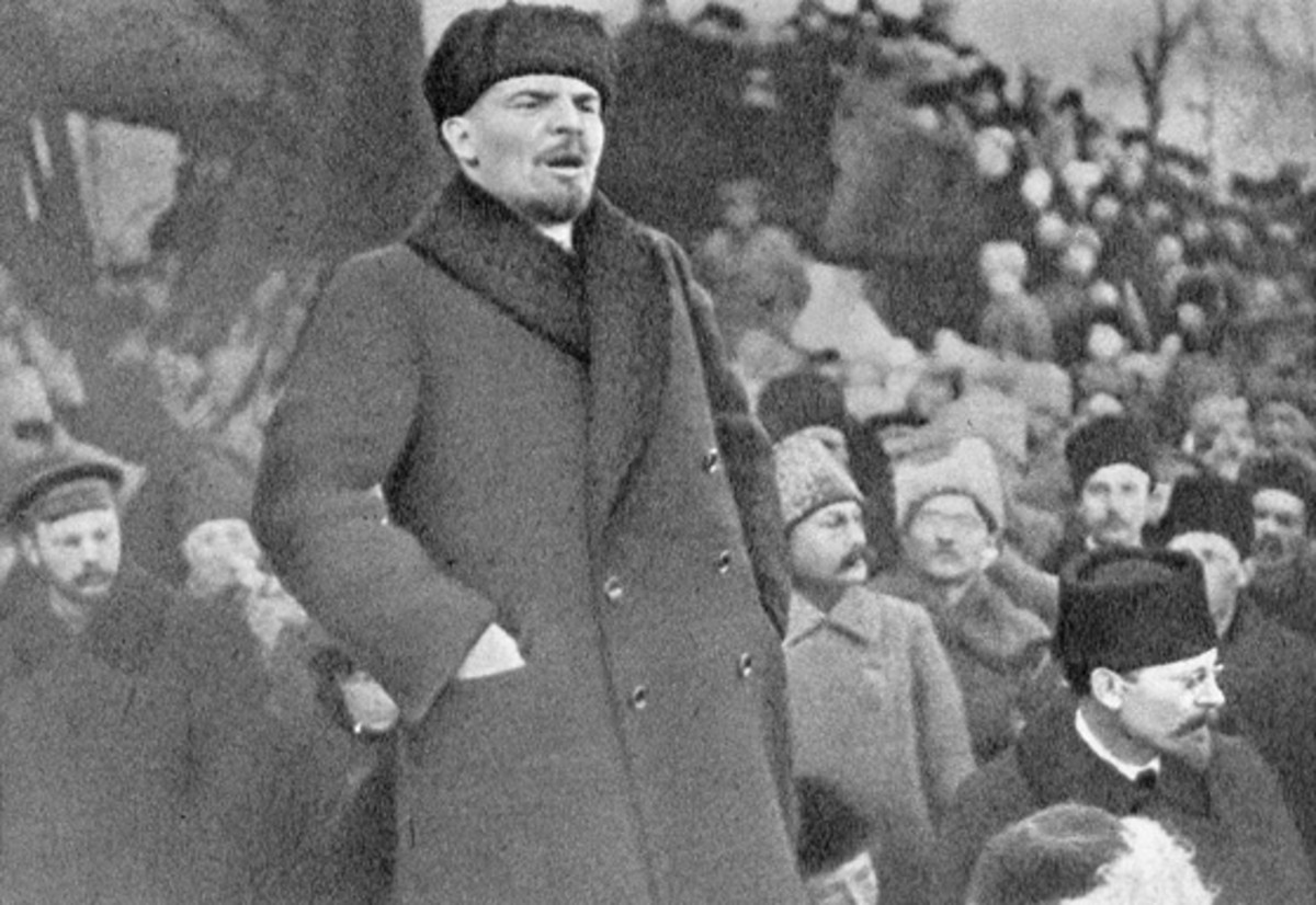 Lenin giving his famous speech of 1919.