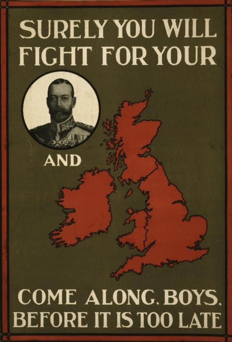 World War I recruitment poster featuring 'King' and 'Country'
