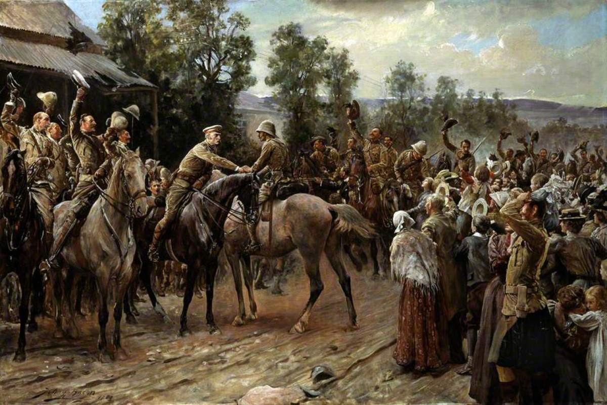 The Relief of Ladysmith. Sir George Stuart White greets Major Hubert Gough on 28 February. Painting by John Henry Frederick Bacon (1868–1914)