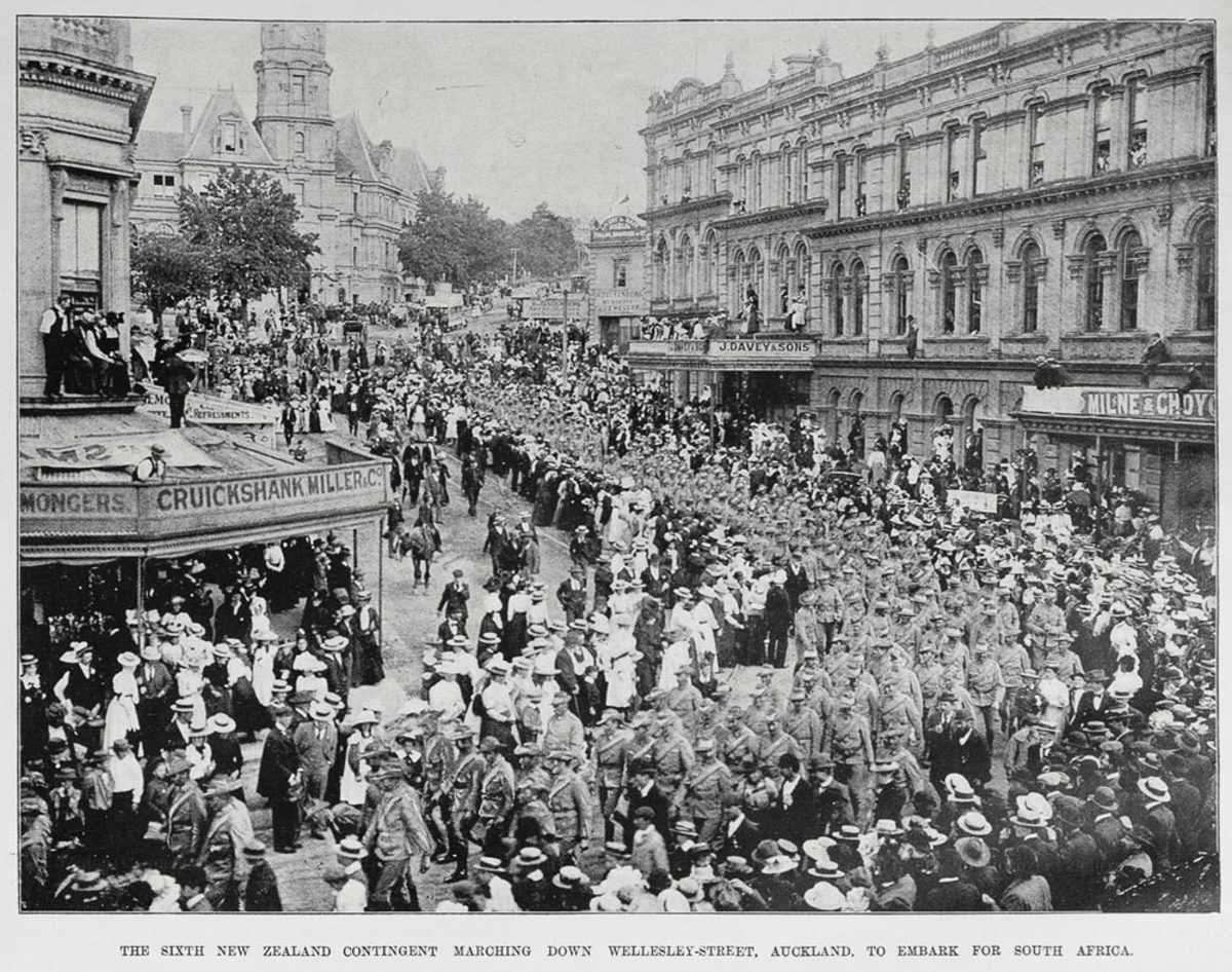 New Zealand troops marching down Wellesley Street, Auckland, to embark for South Africa